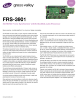 FRS-3901: 3G/HD/SD Frame Synchronizer with Embedded Audio Processor Datasheet
