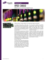 IRD-3802: MPEG Decoder with ASI and GigE IP Inputs Datasheet