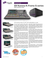 GV Korona K-Frame S-series: Video Production Center Datasheet