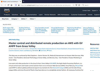 Master control and distributed remote production on AWS with GV AMPP from Grass Valley