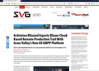 Activision Blizzard Esports Blazes Cloud-Based Remote-Production Trail With Grass Valley's New GV AMPP Platform