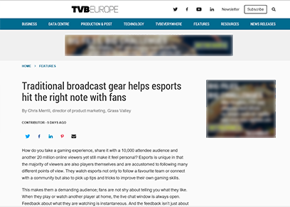 Traditional Broadcast Gear Helps eSports Hit the Right Note with Fans
