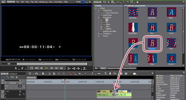 Operations of effects 3drag and drop dissolve to the transition part of a clip video part on the timeline ccuart
