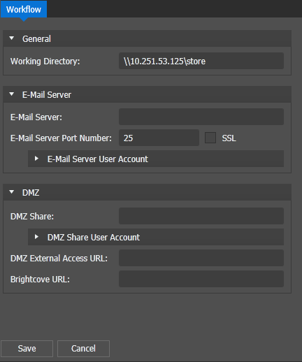 Workflow engine settings